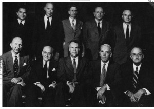 Aycock, top left, with other members of the Carolina Law faculty. (1953)