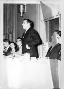 Aycock, during his earlier years as a professor at Carolina Law, speaking at a banquet.